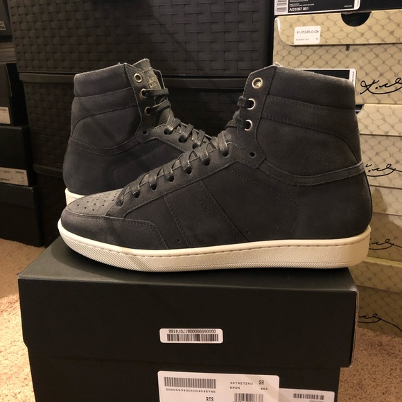 a088c89f5d YSL Saint Laurent Grey High Top Sneakers New 🔥 NWT